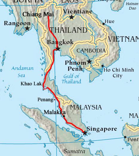Thailand Maleisië kaart