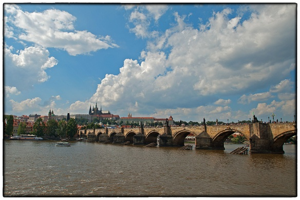 The famous Charles Bridge (Karlův most) that crosses the Vltava river in Prague, Czech Republic. | August 2013