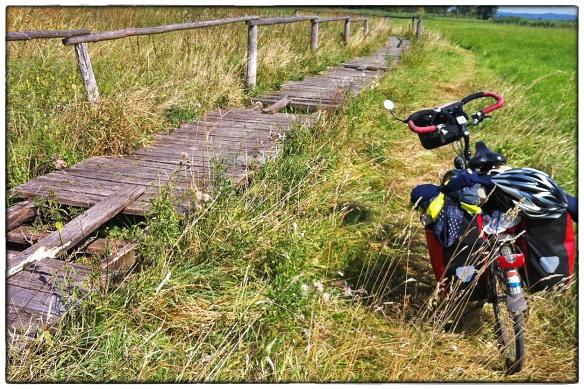 'Bij hoog water de loopbrug gebruiken', lees ik op een bord aan de rand van het kleine moeras bij Widdershausen. Gelukkig staat de rivier laag en houd ik droge voeten... (foto iPhone)