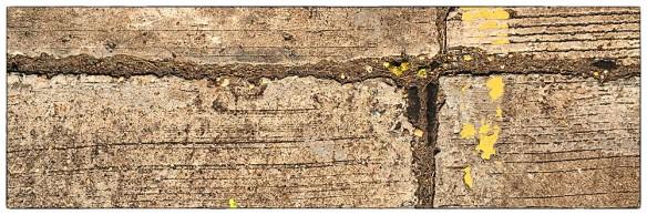 Dit kwam ik in Thailand vaak tegen: betonplaten, kilometers achtereen. Ter plekke gegoten, met voegen om uitzetten en krimpen op te vangen. In die voegen een teerachtige massa die uitstulpt, soms een paar centimeter hoog. Boenkeboenk. Op 't laatst ga je op je trappers staan, om je zitvlak te ontzien.