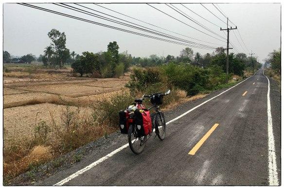 THAILAND - Een van de vreemdste fietspaden ooit. De elektriciteitsdraden zoemden en knisperden zó hard dat het leek alsof ik door een woud van krekels reed.